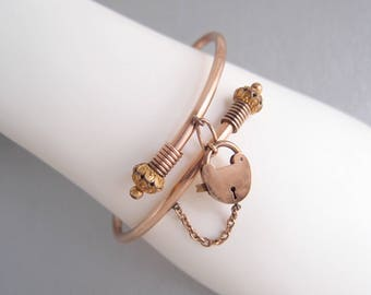 Antique Victorian Heart Lock Bangle Etruscan rose gold filled crossover bypass padlock bracelet