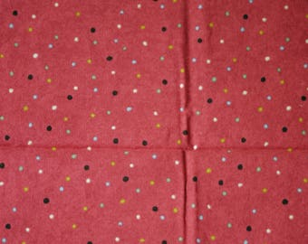1/4 YARD, Pink Red Polka Dot Print, Quilting Cotton or Craft Fabric, Mutlicolor Spots, Blue Yellow Black Green, 21 x 17, B44