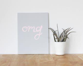 "gray wall art acrylic painting, ""omg"" - are you my bestie, flat 6x8 canvas, bffs, girlfriend, best friends, portrait, gift, wall art, home"