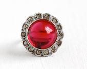 Sale - 1930s Cocktail Ring - Art Deco Era Sterling Silver Simulated Ruby Cabochon & Paste Halo - Vintage Size 5 1/2 Red Glass Stone Jewelry
