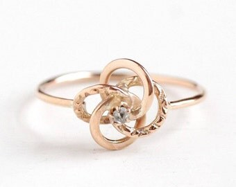 Sale - Antique 10k Rose Gold Rose Cut Diamond Victorian Love Knot Ring - Size 5 Late 1800s Fine Stick Pin Conversion Filigree Jewelry