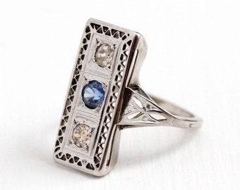 Antique 10K White Gold Blue Sapphire & Diamond Filigree Shield Ring - Vintage Art Deco 1920s Fine Gemstone Engagement Jewelry