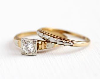 Diamond Ring Set - 1/3 CT 14k - 18K Yellow & White Gold Engagement Ring Wedding Band - Romantic Heart 1940s Size 6 3/4 Fine Bridal Jewelry