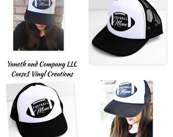 Football Mom Trucker Hat,Custom Football Mom hat,Football Mom hat,Football black and white hat,Sports Trucker hats,Sports Mom Trucker Hat