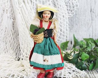 Vintage Italian Italy Doll with stockinette painted face, 1920-1930