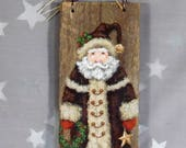 "Decorations, Santa Claus, hand painted on Ozarks barnwood, original art, 3 1/2"" x 9"""