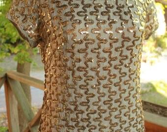 Vintage 60s Shear Gold Sequins Dress Elinor Gay Original