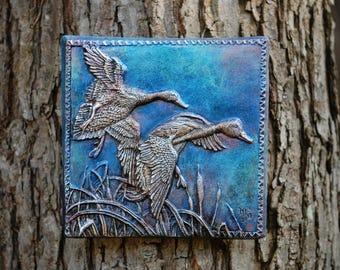 Duck Art Gift for Him Duck Wall Art, Bird Sculpture Garden Art, Flying Ducks Stone Sculpture, Duck Decor Plaque