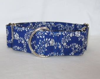 Blue Floral Martingale Dog Collar - 1.5 or 2 Inch - cream vintage country rustic beautiful elegant flower
