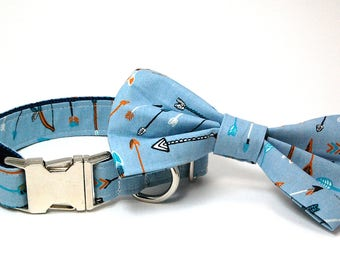 Handmade Dog Collar and Bow Tie Set - Bow and Arrows in Blue - Custom Made Arrow Dog Collar with matching bowtie
