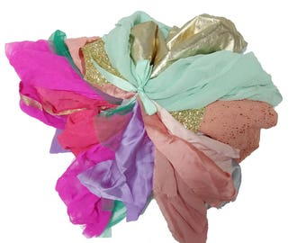 La Lilouche Luxe Bag of fabric Scraps, Silk satin, silk chiffon, lace, Fabric left overs