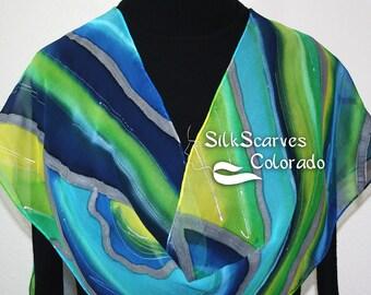 Silk Scarf Hand Painted Blue Green Yellow Hand Dyed Chiffon Silk Shawl SPRING MORNING. ExtraLong 11x90 Birthday Gift Bridesmaid Gift