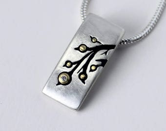 Budding Branches - Silver & Gold Diamond Pendant  - Made to Order