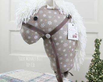 Handmade Child's Stick Horse, Snowflake Christmas Hobby Horse Ride-On Toy