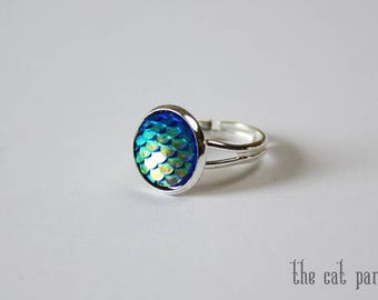Blue Mermaid ring silver plated