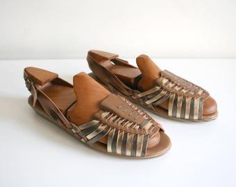 Metallic Huarache Sandals 10