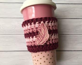 Pink cup cozy, cup cozy, coffee cup cozy, feather cup cozy, crochet cup cozy, coffee cup sleeve, coffee cozy, crochet cup sleeve, planner