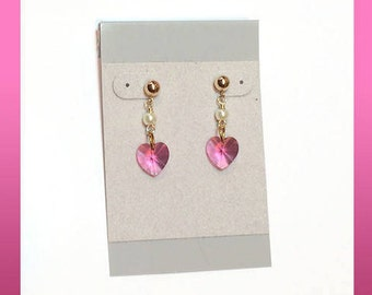 Post Earrings 10mm Medium Pink Swarovski Crystal Hearts 14K Gold-Filled with 4mm White Pearls on Top 14K Gold Filled 4mm Ball Earring Posts