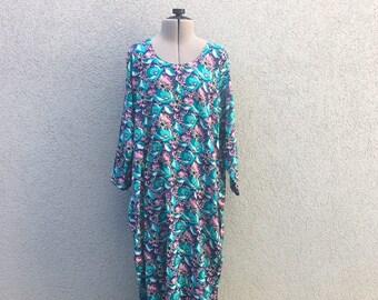 Vintage 60s Floral Maxi Dress, Long Sleeve Dress, Flower Print Dress, Day Dress, Summer Dress, Sun Dress, Size L