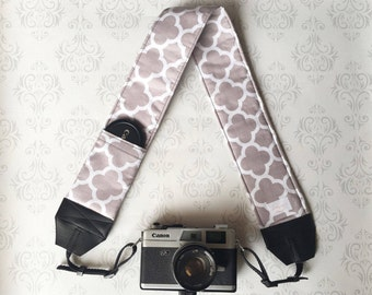 DSLR Camera Strap, Padded with 2 Lens Cap Pockets, Nikon, Canon, DSLR Photography, Photographer Gift,  Gift - Gray Quatrefoil