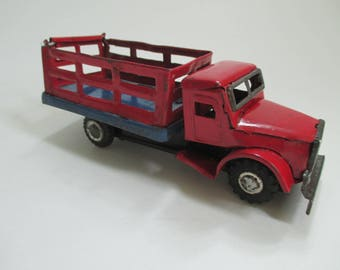 Vintage Metal Tin Toy Truck - Red and Blue - Stake Body Truck - Child's Room Decor - Photo Prop - Studio Decor
