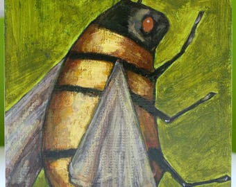 honey bee study on green original a2n2koon mixed media painting on reclaimed wood bee wall art on wood yellow gold green little painting