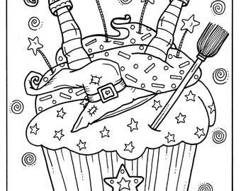 5 Pages Halloween Cupcakes To Color Instant Download Digital Art Digi Stamp Adult