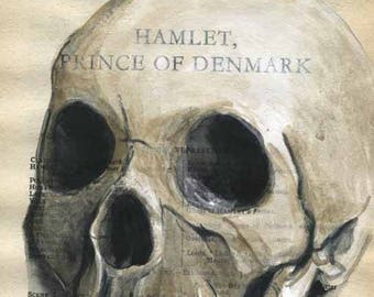 Scull - Hamlet, Prince os Denmark - Shakespeare -  Original Watercolor Painting on Antique Book page - 5 1/2x8inches