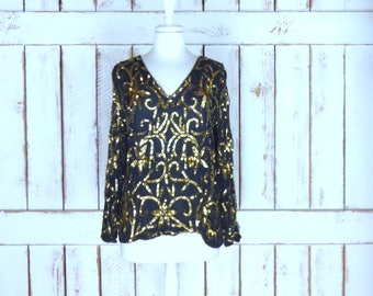 Vintage silk black/gold beaded sequins long sleeve top/beaded evening formal blouse/sequin top/small