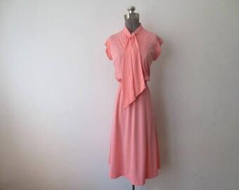 Vintage '70s Salmon Pink Polyester Sleeveless, Elastic Waist, Necktie Dress, Medium