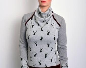 grey sweatshirt deer by STADTKIND