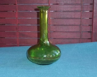 Vintage 1970's Avocado or Lime Green Glass Bud Vase-Squatty Bottom-Free Shipping