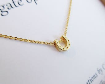 Horseshoe Necklace, Horseshoe Pendant, Gold Horseshoe, Horseshoe Jewelry, Small Horseshoe, Lucky Horseshoe, Equestrian Pendant, Lucky Charm