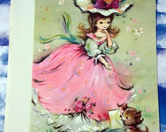 Gorgeous Vintage Large Friendship Lady in Pink Dress & Puppy Dog