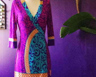 70's Psychedelic Wrap Dress