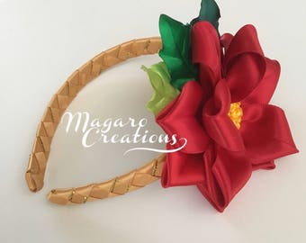Poinsettia headband,Christmas headband,girl headband,toddler headband,infant headband,holiday headband,red headband,flower headband.