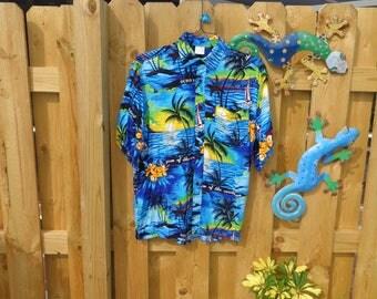 VINTAGE 1970's Men's Blue Hawaiian Shirt - available