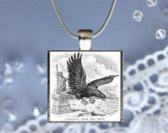 Pendant Necklace Statue of Liberty and Eagle
