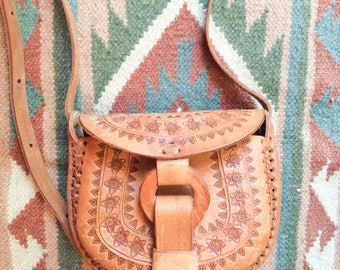 Tooled leather purse, mini shoulder bag from Mexico