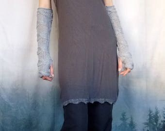 Lovey Dove Arm Warmers, hand knitted in wool mix yarn, above elbow, cable knitting and stitch detail dove grey gauntlets, also black