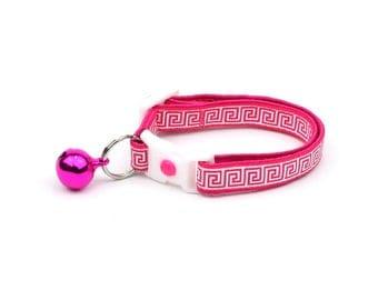 Greek Key Cat Collar - Bright Pink Greek Key - Breakaway Cat Collar - Kitten or Large Size