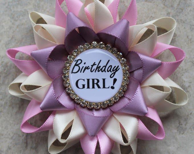 Birthday Party Decorations, Girls Birthday Ribbon, Birthday Girl Pin, Pink and Purple Birthday Pin, Ivory, Bubblegum, Ivory, Thistle, Gold