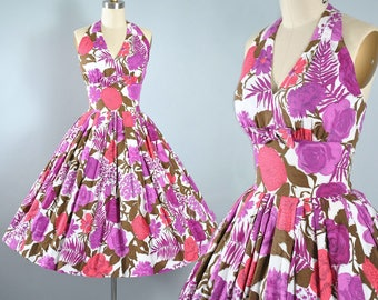 RESERVED 50s Jerry Gilden Dress  1950s Cotton Sundress Purple Red Floral ROSE POPPY Carnation Halter Top Full Skirt Garden Party Pinup Small