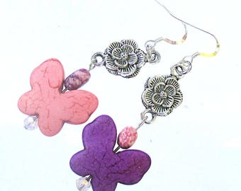 Long Dangle Earrings Sterling Filled Stone Butterfly Charms Metal Rose Links Purple Pink Silver Nature Inspired Rebirth Symbol About 2-1/2in