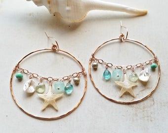 Large Starfish Hoop Earrings, Starfish Dangle, Real Starfish Earrings, Mint Gemstone Dangle, Beach Hoop Cluster Earrings