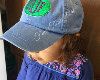 KIDS Mermaid Scale Monogram Baseball Cap Hat Girl Youth Size Name Initials Leather Strap Beach Vacation
