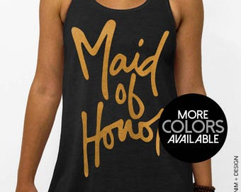 Maid of Honor - Script - Black Flowy Racerback Tank Top, Women's Bridal Party Tank Top, Gold, Pink, SIlver and White Ink
