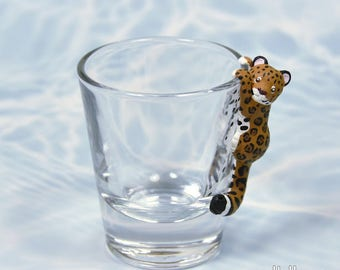 Hand Sculpted Jaguar 1.5 oz Shotglass