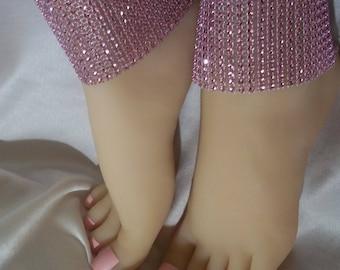 Pink Rhinestone Anklets, Barefoot Sandals, Pink Ankle Bracelets, Sparkling Beaded Anklets, Pink Accessories, Pink Bling Accessories, Anklets