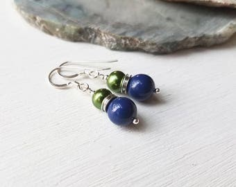 Seahawks Green and Navy Blue Swarovski Crystal Pearl Earrings  by Quintessential Arts